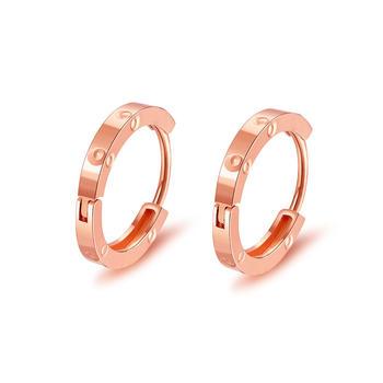 阿梵尼  18k金耳环 玫瑰金简约气质光圈小耳圈女 彩金耳饰 彩金耳扣