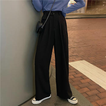 2020夏季新款百搭休闲高腰直筒两粒扣西装裤