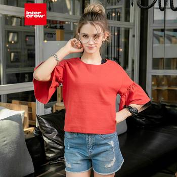 intercrew夏季韩版时尚休闲宽松短款喇叭袖棉质圆领短袖T恤女
