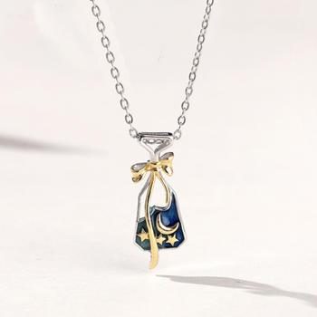 925纯银星空许愿瓶锁骨链纯银项链星星月亮项链