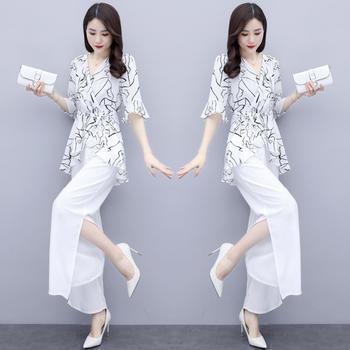 夏装2020新款套装女大码显瘦女神范阔腿裤套装女时尚