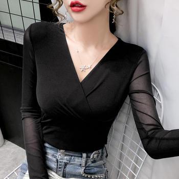 曼琳思菲 2020秋冬新款交叉高弹网纱长袖t恤打底衫女