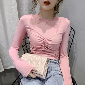 曼琳思菲 2020秋款长袖t恤假两件修身打底衫显瘦小心机上衣