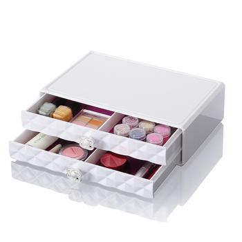 科特豪斯双层钻石纹化妆品收纳盒