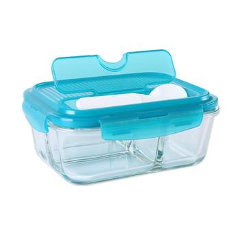 三分隔耐热玻璃饭盒保鲜盒